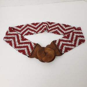 Accessories - Red and White Chevron Stripe Beaded Belt